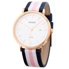 Relógio Feminino Analógico Orient, Com Calendário, Pulseira em Nylon Bicolor, Caixa De aço Rosê, Resistente à Água 3 Atm - FRSN1001-S1DR