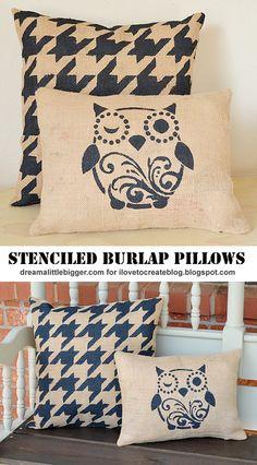 iLoveToCreate Blog: DIY Outdoor Stenciled Burlap Pillows