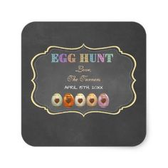 Rustic chalk colourful easter egg hunt party paper napkin rustic rustic chalk colourful easter egg hunt party square sticker negle Image collections