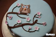 A chocolate mudcake decorated with blue fondant, chocolate tree, and fondant owl and blossoms