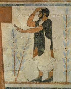 Tomb of the Augurs, Tarquinia, Italy; around 530-520 BCE. Detail of a priest with pointed shoes.  Archaeological Site - Etruscan Necropolis, Tarquinia, Italy