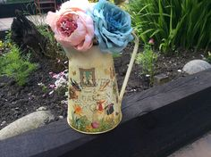 Hand painted and decoupaged  aged zinc metal flower vase vintage style shabby chic home sweet home by DottyCottage1 on Etsy