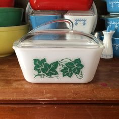 Glasbake ivy refrigerator dish by ToughTownLovelies on Etsy, $12.00
