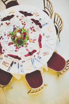 Deep red, garnet table napkins and chair seats - Image by Sasha Weddings - A victorian red & Ivory colour scheme at the London Museum of Water & Steam with beardy steampunk gay couple Wedding Table Names, Wedding Table Settings, Wedding Centerpieces, Wedding Decorations, Burgendy Wedding, Gold Ivory Wedding, London Museums, Steampunk Wedding, Gay Couple