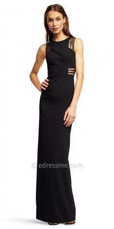 Command the room's attention in this Illusion Inset Fitted Evening Dress from Aidan by Aidan Mattox. This style features a crew neckline and a classic column silhouette. This style also features unique illusion panels with a striped design at the waist and shoulders for the perfect hint of sexy. #edressme