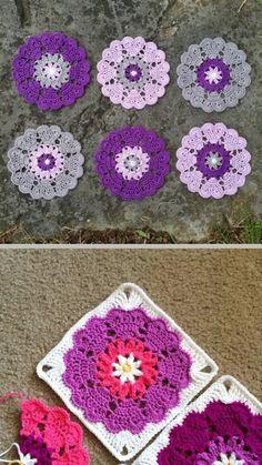 Crochet Granny Square Patterns Heart Mandala squared - Original free pattern for Heart Mandala by Crochet Millan Mandala Au Crochet, Crochet Motifs, Crochet Blocks, Crochet Squares, Crochet Patterns, Crochet Quilt, Doily Patterns, Knitting Patterns, Love Crochet