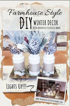 Learn how to make this simple faux pine centerpiece, and other great winter decorations, that'll take you long past Christmas time! Easy for even the least crafty people to make!