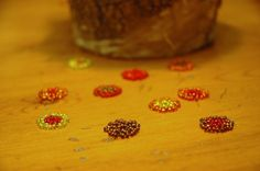 10 Beaded Fall Flowers Table Confetti by TreasureLakeDesigns