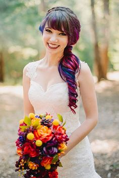 You'll LOVE how this bride incorporated her rainbow hair into her wedding.