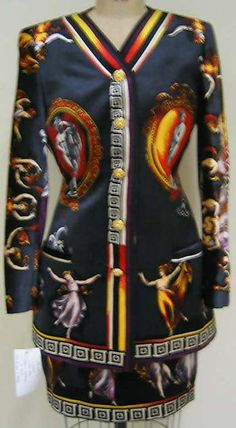 Printed silk suit, by Gianni Versace for Versace Couture, Italian, fall/winter 1991-92.