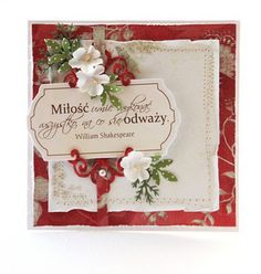 Like how the embellishments frame the label at a diagonal. #Papercraft #card