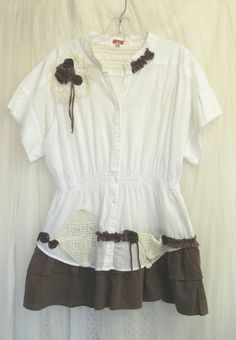 Upcycled Small/Medium Brown and White Cotton Dress Ruffles Romantic Vintage Doilies and  Yo Yos. $42.00, via Etsy.