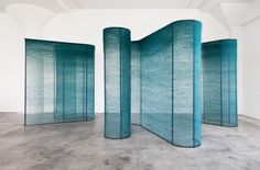 "Mimi Jung, ""Four Teal Walls"" series, natural fibers woven over powder-coated steel ref: Knot for Profit: The Latest in Textile Art Instalation Art, Style Deco, Metal Tree Wall Art, Teal Walls, Textiles, Weaving Art, Stage Design, Community Art, Retail Design"