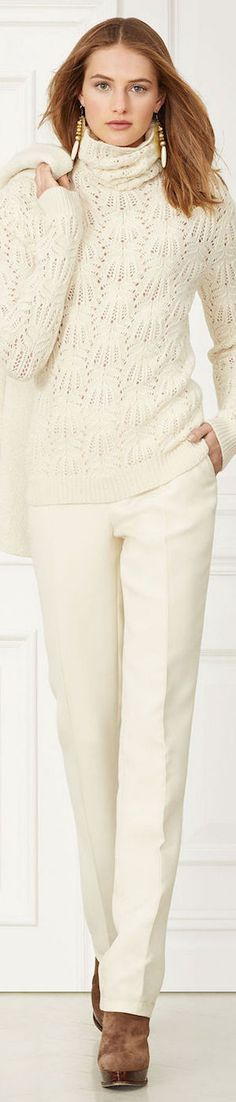 RALPH LAUREN McKAYLA WOOL PANT Fall I'd do this style in a color, and with a slightly closer (and turned over) turtle for a cleaner neckline. How To Have Style, Style Me, Moda Casual, Casual Chic, Moda Fashion, Womens Fashion, Fashion Trends, Elegante Y Chic, Moda Outfits