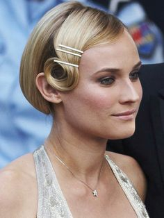 the Great Gatsby spirit with our beauty tips from pin curls to bold brows (Diane Kruger) Bobby Pin Hairstyles, Retro Hairstyles, Headband Hairstyles, Wedding Hairstyles, Gatsby Hairstyles, Braided Hairstyles, Flapper Hair, 1920s Hair, Diane Kruger