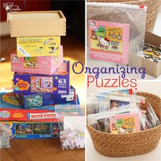 Great idea to take puzzles out of the box to organize them!  Huge space saver.