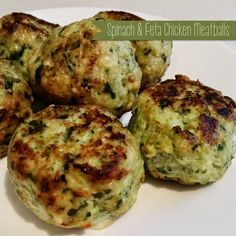A yummy throw together recipe. Don't over cook them, though, or they go tough. A Little Bit Of Homemade Heaven: Spinach & Feta Chicken Meatballs Baby Food Recipes, Paleo Recipes, Great Recipes, Chicken Recipes, Cooking Recipes, Favorite Recipes, Dinner Recipes, Cooking Ribs, Meatless Recipes