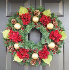 Silk Hydrangea and Ornament Evergreen Christmas Wreath