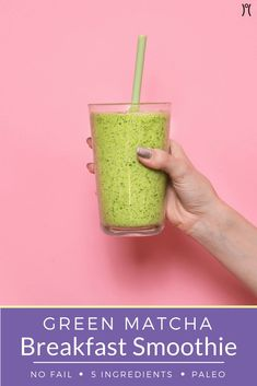 Energizing with a healthy dose of antioxidants, this green tea matcha drink is the perfect breakfast smoothie. #smoothie #matcha #healthybreakfast #healthyrecipes