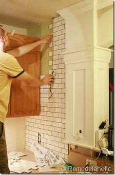 white subway tile backsplash tutorial