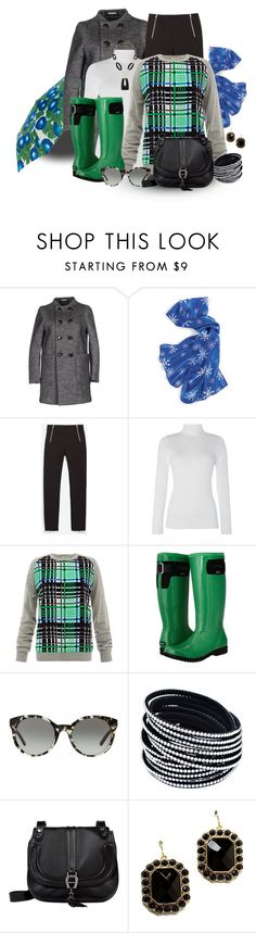 """Green Rain Boots"" by franceseattle ❤ liked on Polyvore featuring Dsquared2, Natures Jewelry, Zara, Lauren Ralph Lauren, Emma Cook, Bogs, Tory Burch, Etienne Aigner, Style Tryst and Alexis Bittar"