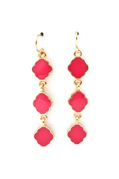 Cassie Dangle Earrings in Raspberry Fuchsia.