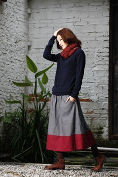 Another casual but dressy outfit that looks warm and comfortable.