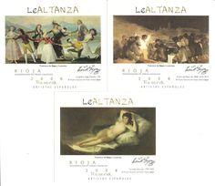 Etiquetas de Bodegas Altanza. La Rioja. Obras de Goya