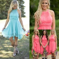 2016 Fall Cheap Country Coral Bridesmaid Dresses Jewel Chiffon Knee Length Wedding Guest Wear Party Dresses Maid of Honor Gowns Under 100 Rhinestones Free Shipping 2016 Online with 82.0/Piece on Magicdress2011's Store | DHgate.com