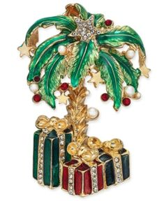 Holiday Lane Gold-Tone Imitation Pearl & Stone Palm Tree & Presents Pin Brooch - For a Tropical Christmas Holiday Jewelry - Inexpensive Jewelry Jewelry Tree, Fine Jewelry, Tropical Christmas, Christmas Trees, Christmas Nativity, Christmas Holiday, Vintage Brooches, Vintage Jewelry, Inexpensive Jewelry
