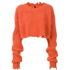 Unravel Project cropped ribbed detail jumper ($1,375) ❤ liked on Polyvore featuring tops, sweaters, crop top, orange, red cropped sweater, red top, jumper crop top and red crop top