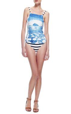 Printed and Striped Swimsuit by Salinas - Moda Operandi