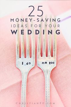 25 amazing #wedding-ideas to help you actually save money on your wedding day!...when I married my lovely wife, we got creative and had a wedding and reception (thanks to some awesome friends and family) that we loved for just a couple thousand dollars. But back then - before the days of Pinterest - we had to actually be creative. ;) Now-a-days you can spend an hour on Pinterest and find more great frugal wedding ideas than you will ever be able to use.