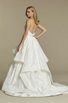 Style 1602 Apollo - Ivory draped taffeta bridal ball gown, strapless sweetheart crossover bodice, cascading taffeta skirt with horsehair edging.