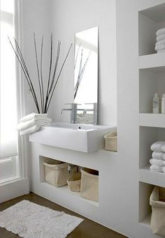 Design Ideas Modern bathroom ideas - cool bathroom furniture Design IdeasSource : Moderne Badezimmer Ideen - coole Badezimmermöbel by Zen Bathroom Decor, White Bathroom, Bathroom Furniture, Bathroom Interior, Small Bathroom, Bathroom Ideas, Bathroom Modern, Minimalist Bathroom, Bathroom Taps