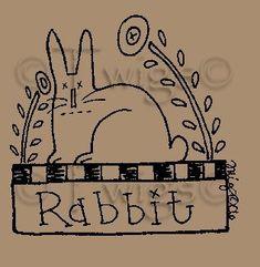 Primitive Stitchery Patterns | ... - Primitive Bunny Rabbit Stitchery E Pattern (Powered by CubeCart