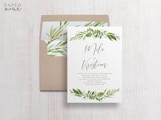 Wedding Invitation  Greenery Wedding Invitation Suite  Leaf