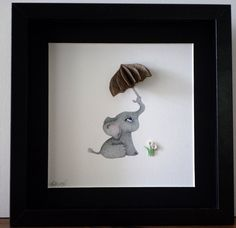 Nursery Decor. Baby Elephant holding Brolly. 3D Paper Art Made to Order in choice of colours. FREE UK SHIPPING.