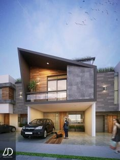 3 floor house located in Puebla Mexico with a contemporary facade and lots of goodies. Architecture Design, Modern Architecture House, Facade Design, Residential Architecture, Duplex House Plans, Modern House Plans, House Front Design, Modern House Design, Style At Home