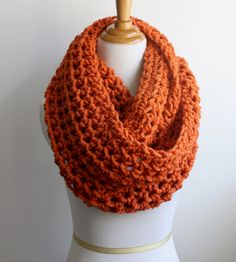 Pumpkin Scarf, Snood, Knit Scarf, Orange Infinity Scarf, Crocheted This hand crocheted scarf is made from a soft acrylic and wool blend. Chunky Knit Scarves, Chunky Wool, Crochet Scarves, Crocheted Scarf, Hand Crochet, Knit Crochet, Crochet Hats, Crochet Stitch, Double Crochet
