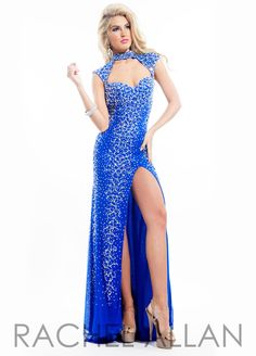 Rachel Allan Prom Dress 6938 - Gotta love the bright royal blue in this tight fitted, all rhinestone gown. QueensChoice.com
