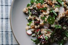 Radish and Pecan Grain Salad (mom would love this!) Also- the article it came from has a ton of other great recipes.