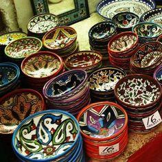 Palestinian pottery sold in a Jerusalem market.