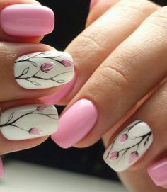 Nail art is a very popular trend these days and every woman you meet seems to have beautiful nails. It used to be that women would just go get a manicure or pedicure to get their nails trimmed and shaped with just a few coats of plain nail polish. Spring Nail Art, Nail Designs Spring, Cute Nail Designs, Spring Nails, Summer Nails, Nail Art Flowers Designs, Autumn Nails, Tulip Nails, Flower Nails