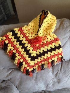 Infant crochet poncho with hood