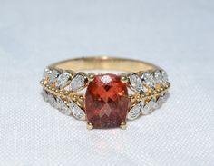 Orange Stone Statement Ring Lady's Stone Ring 14K Yellow Gold 3.91g Size:8