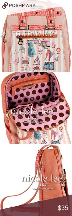 NICOLE LEE MINI (SYBIL)  DOLLHOUSE BACKPACK Nicole lee sybil dollhouse striped print mini backpack purse is perfect for work or school and comes with detachable zip pocket. Exterior features: made of soft faux leather, faux glossy croc trim, stitching detail, gold-tone hardware, rhinestone embellishment details, detachable front flap zipper pocket, dual zipper closure, back zipper pocket, and Nicole lee usa nameplate in front. Interior features: zip wall pocket with no nameplate at interior…