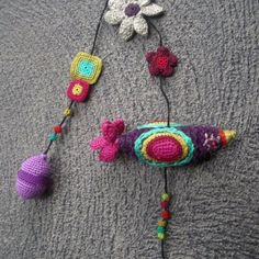Paradiso Exotic Textile Bird with Crochet Motifs by gitte on Etsy