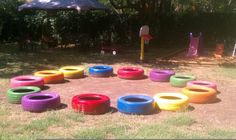 painted tires for the kids to play in