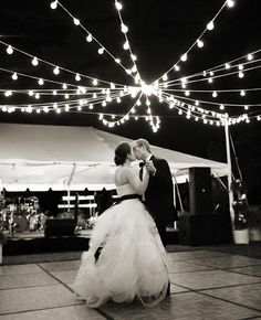Web of Lights Over the Dance Floor | 9 Ways To Light Your Reception | https://www.theknot.com/content/9-ways-to-light-your-reception